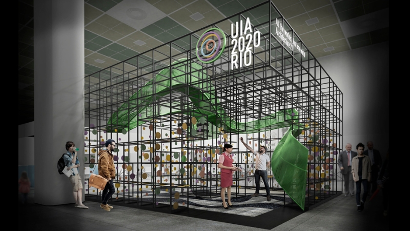 1º Colocado em concurso organizado pelo IAB-RJ para o estande brasileiro do Brasil no UIA2017SEOUL. /// 1st. prize for the Brazilian booth architectural design competition for the UIA2017SEOUL.